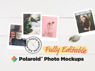Polaroid™ Photo Mockups scene feminine wood mock-up mockup photo polaroid