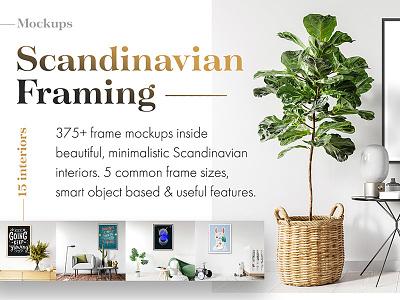 Scandinavian Framing Mockups photoshop marketplace product showcase print minimal scandinavian frame wood mockup