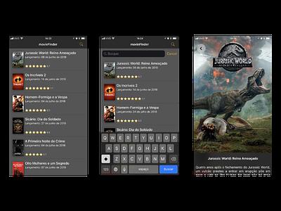 movieFinder App dark theme rating finder ios movie sketch mobile app