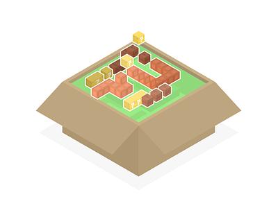 RetroBox isometric illustration vector design