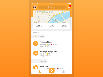 Swarm 5.0 lifelogging homescreen timeline redesign swarm foursquare