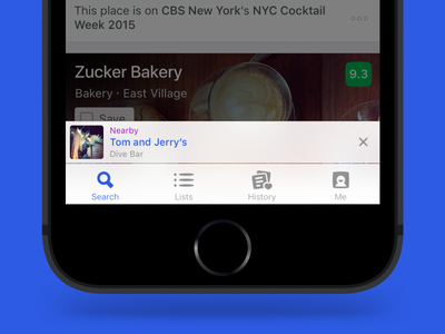 Foursquare - Here Bar apple music rdio spotify nearby discovery ux ui navigation blur tab bar ios foursquare