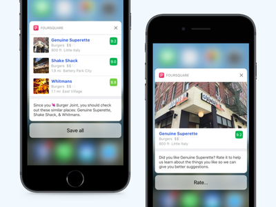 Foursquare - iOS Notifications peek and pop ping rich notification 3d touch ux ui ios notification foursquare