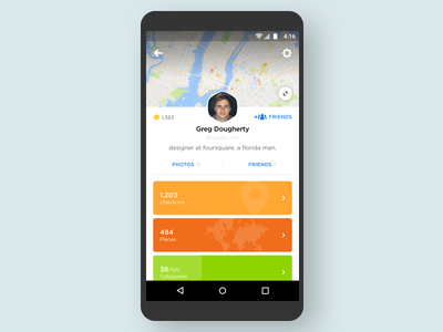 Swarm - Profile location social android ux ui map statistics stats profile swarm foursquare