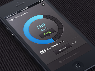 Credit balance and payments ios dashboard payment withdraw credits smooth animation order