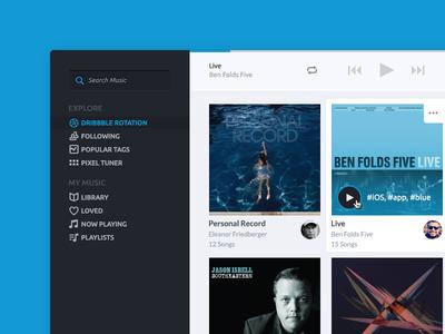 Creative player player dribbble music radio rdio spotify web app google music