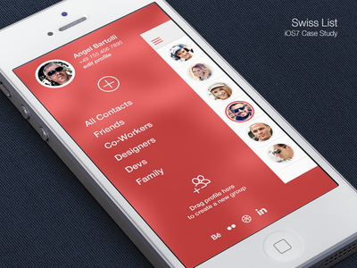 Contact List iOS7 ios flat ios7 list manager contacts swiss helvetica