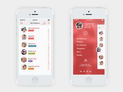 Contact list menu iOS7 ios flat ios7 list manager contacts swiss