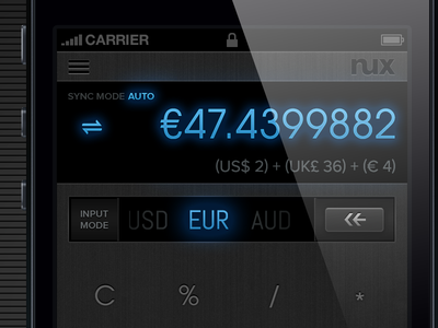 Multi-Currency Calculator/Converter for iPhone dark ui currency converter converter calculator ux ui ios gestural interface swipe double-tap