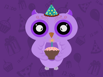 The Bday Owl birthday bday owl bird illustration