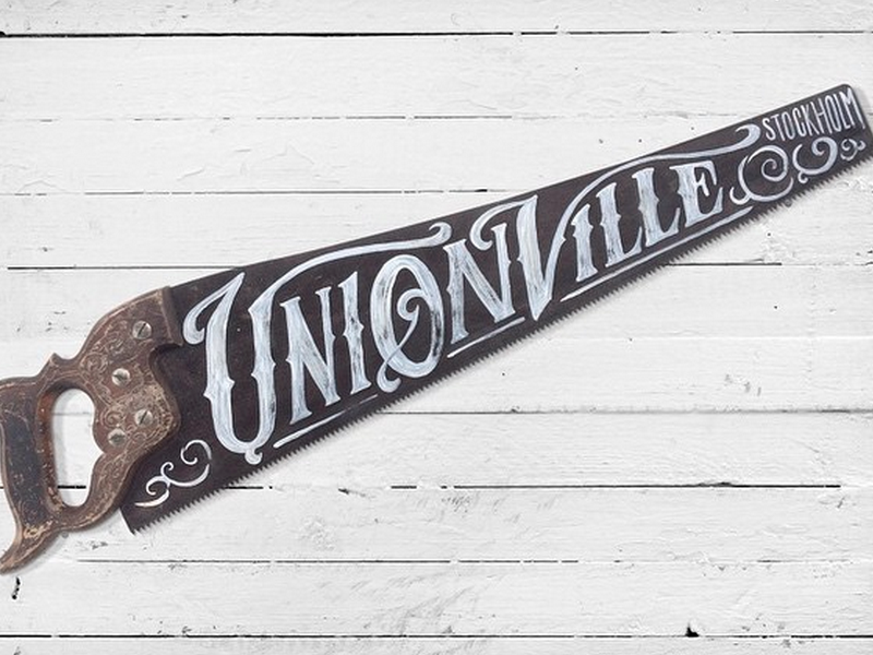 Hand Painted Vintage Saw type typography hand lettering vintage illustration