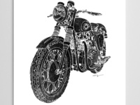 Black and White Vintage Motorcycle