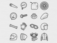 Motorcycle Line Icons