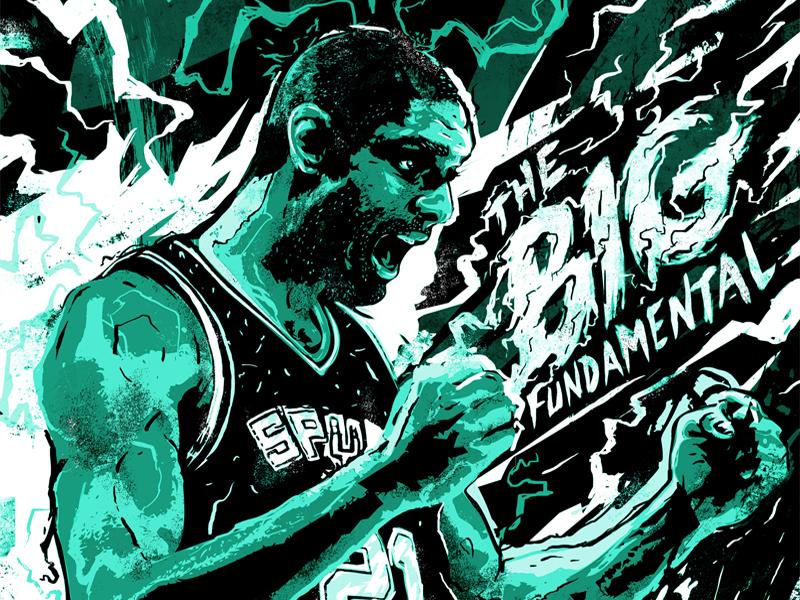 Tim Duncan - The Big Fundamental mvp mural illustration power bolt lightning scorer player soccer winner cheering dynamic energetic sports basketball nba spurs tim duncan