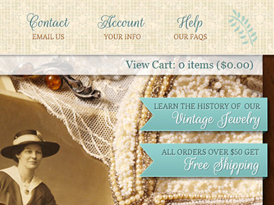 Vintage Header vintage old time pearls jewelry textures