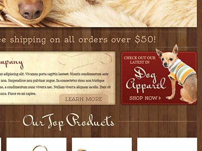 Fetch Homepage homepage ecommerce template dogs wood texture