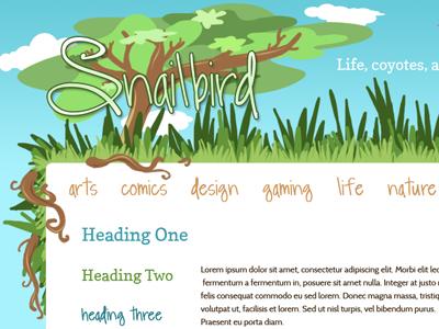 Snailbird Redesign colorful illustration blog design vectors green nature trees