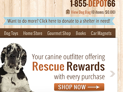 Dog Depot dogs wood earth brown web design