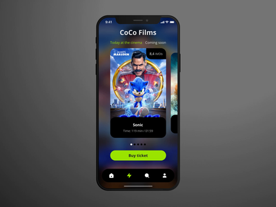 "Cinema app ""CoCo films"" movie cinema mobile ui mobile app mobile app design mad6 design app"