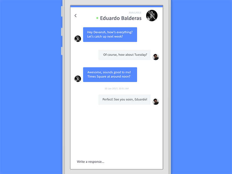Conversation screen  800 x 600