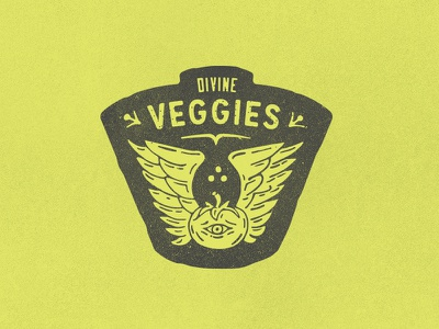 Divine Veggies :: Menu Badge fortune hummus food mediterranean veggies flying tomato good pita food truck