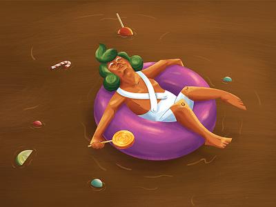 Off-Duty Oompa Loompa candy float chocolate oompa loompa wonka willy