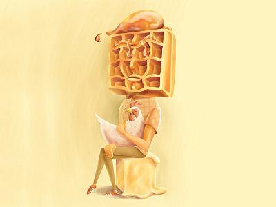 Chicken & Waffles & Me breakfast portrait syrup butter waffles chicken