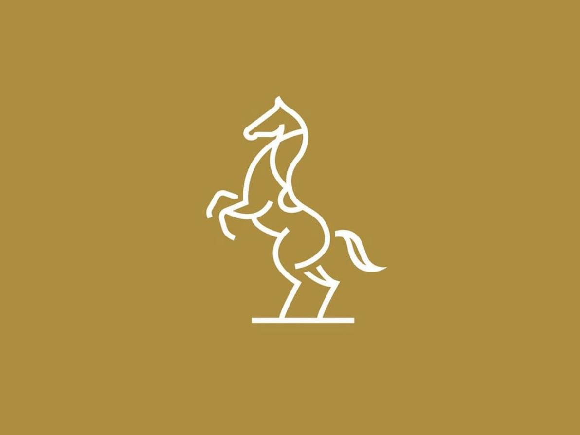 Rearing horse outline outtake horse logo saddle horse vector luxury icon design identity logo branding