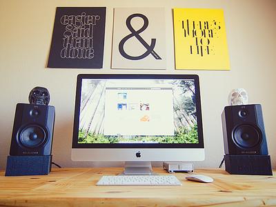 My workspace workspace imac speakers ugmonk desk home office skulls office apple