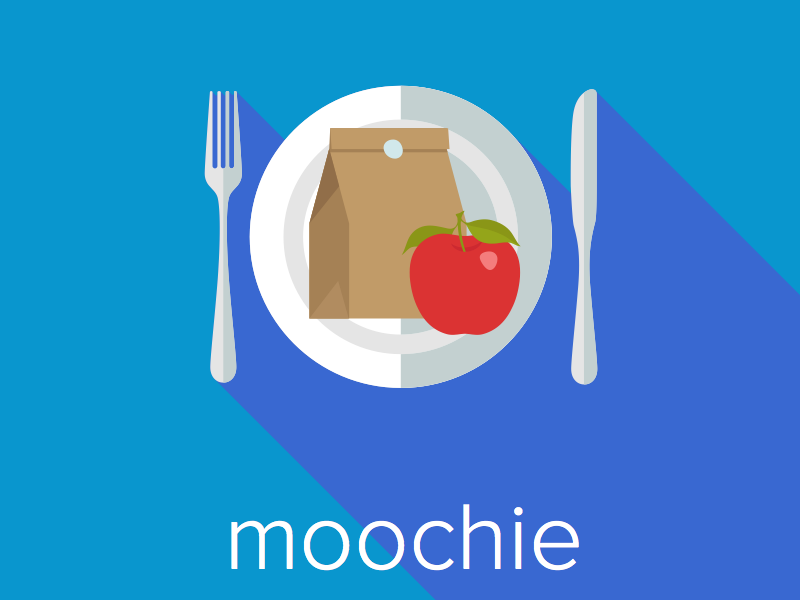 MOOCHIE blue shadow food design application branding logo