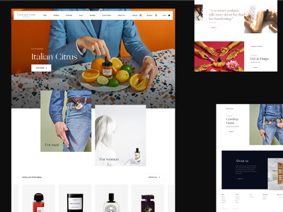 Crème de la Crème Parfumerie / Redesign ecommerce clean design editorial fashion grid layout minimal clean design typography whitespace perfume branding clean ui uiux ui light interface