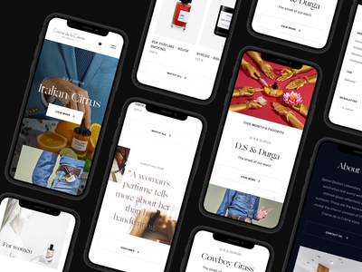 Crème de la Crème Parfumerie / Redesign mobile mobile ui art direction responsive design abstract design perfume grid layout editorial design branding mobile typography light interface content delivery ux ui minimal clean design