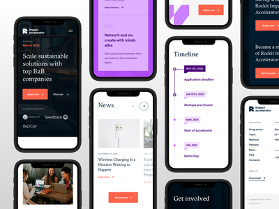Rockit Impact Accelerator Mobile mobile ui light interface mobile content delivery typography startup sustainable business branding design uiux clean ui minimal clean design editorial mobile design