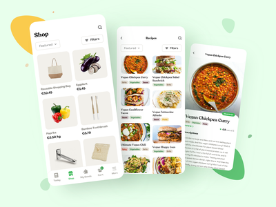 Sustainable Consumption E-System - Uniter zerowaste appdesign vegan shopping app branding platform design typography mobile light interface app uiux minimal clean design food app