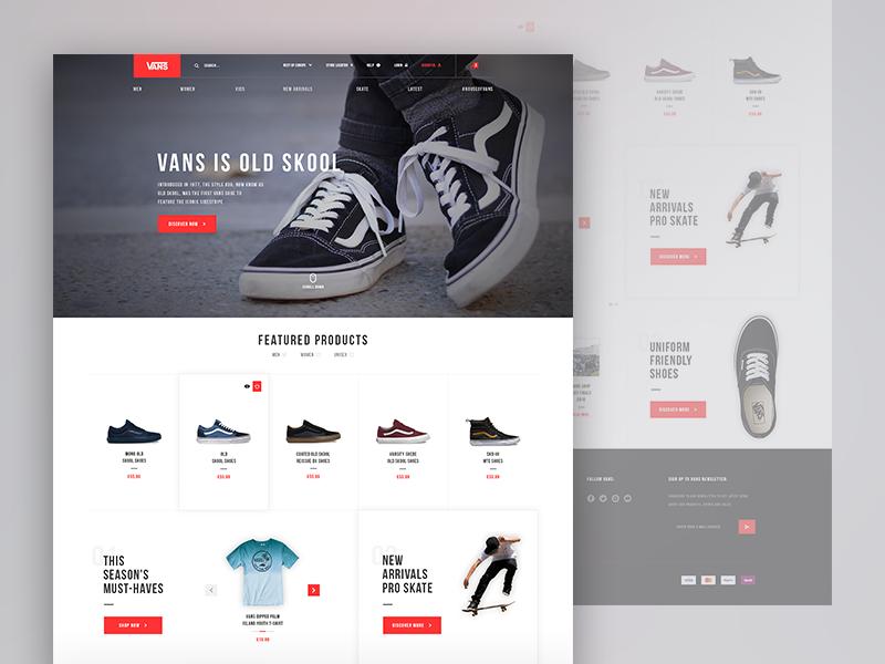 Vans redesign concept blog responsive store shop ux ui bootstrap ecommerce vans redesign