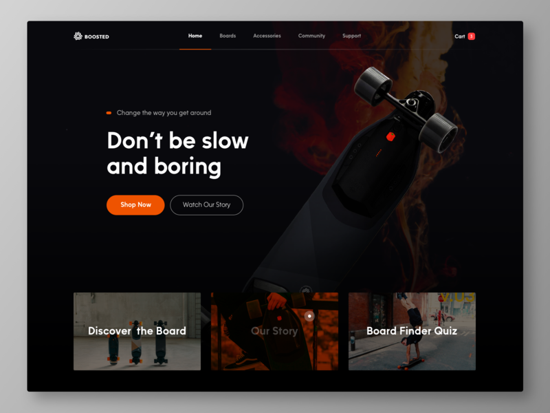 Boosted Board Redesign Concept typography graphicdesign ecommerce web interface design ux ui bootstrap