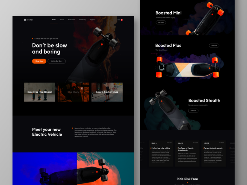Boosted Board Landing Page minimal photography ecommerce graphicdesign web interface design ux ui bootstrap typography