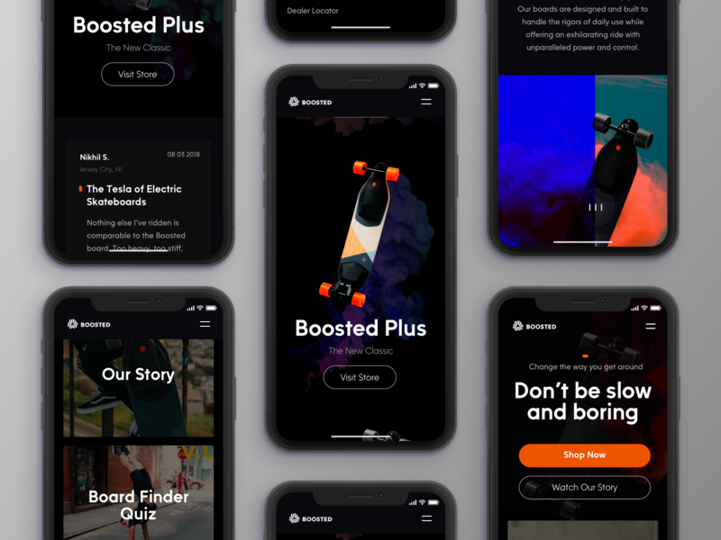 Boosted Board Mobile typography design minimal ecommerce web ux ui minimal clean design landing page dark landing page ui website