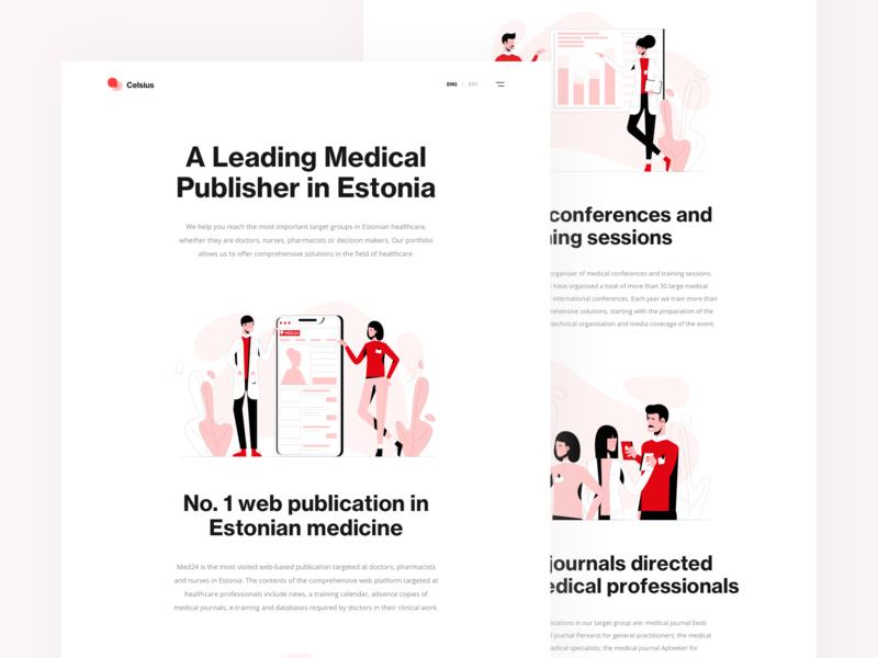 Celsius Health Care conference platform health landing page design ui ux red color theme healthcare illustration minimal clean design healthcare