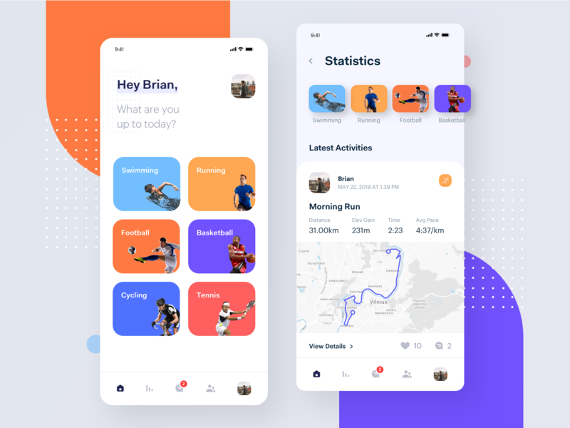 Active Lifestyle - App mobile ui ux statistics sport app social activity platform shedule product mobile app icons healthy lifestyle fitness exercise planner cycling clean interface activity tracker