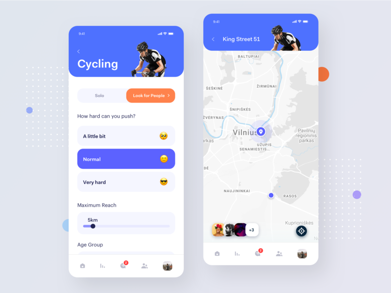Active Lifestyle - App ui ux statistics sport app social activity platform map view location tracker product mobile fitness exercise planner cycling clean interface activity tracker