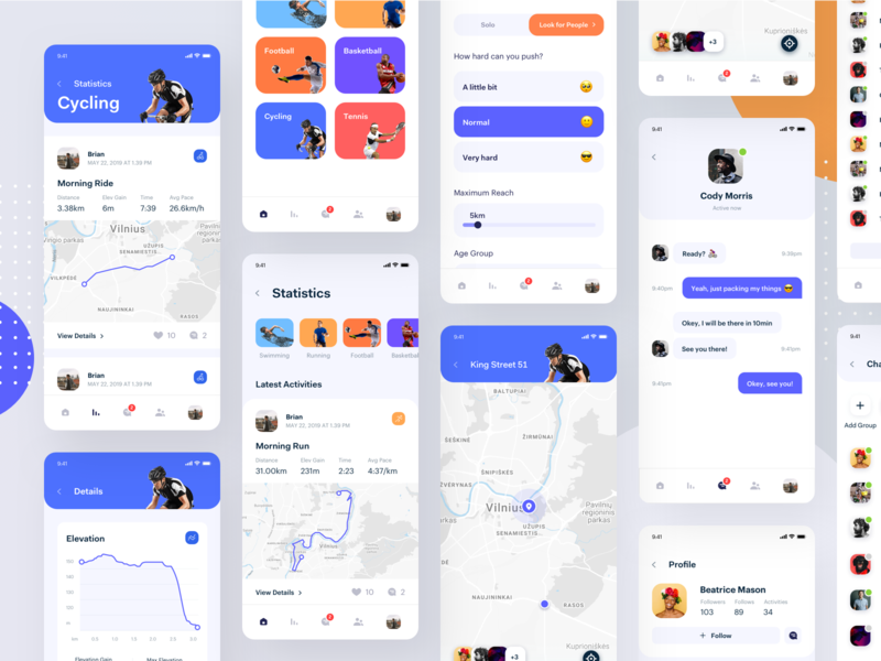Active Lifestyle - App all Screens ui ux sport app social activity platform schedule mobile exercise planner clean minimal design bright interface activity tracker