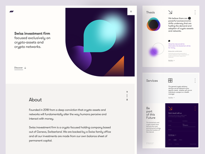 Swiss Investment - Landing Page webdesign crypto investment firm investment blockchain website content delivery light interface minimal clean design platform design ux ui crypto consulting light user interface consulting group abstract design abstract