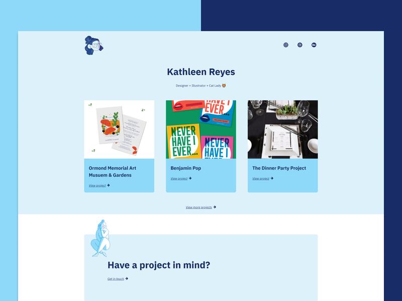 Kath Reyes - Landing Page designer illustration blue portfolio page landing portfolio development webdesign web