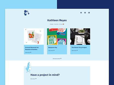 Kathleen Reyes - Landing Page designer illustration blue portfolio page landing portfolio development webdesign web