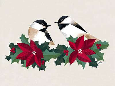 Chickadee holiday card geometric birds card christmas holy bird chickadee illustration
