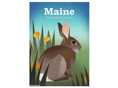 MAINE New England Cottontail Poster