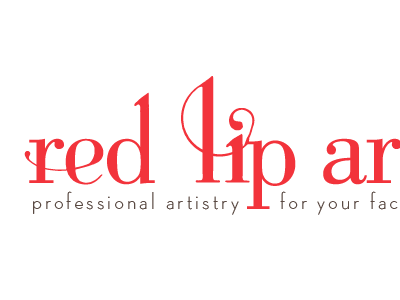 Red Lip Artistry logo concept red typography bodoni swashes logo branding