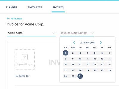 Invoice Date Range accounting invoice picker date calendar