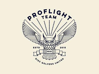 Proflight disc golf emblem vector badge owl geometric disc